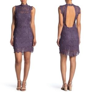 Free People Daydream Lace Mini Dress purple ash